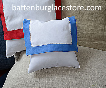 Envelope Pillow.Baby size 8 inches. White with French Blue color
